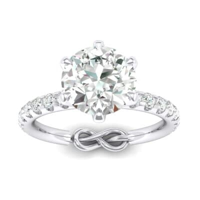 Infinity Six-Prong Pave Crystals Engagement Ring (0.64 Carat)