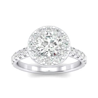 Claw Prong Halo Crystals Engagement Ring (1.24 Carat)