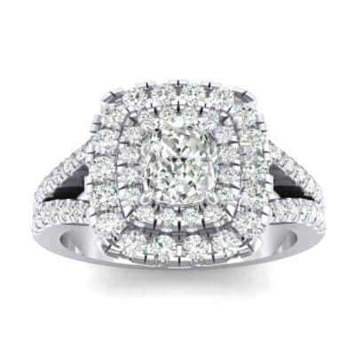 Double Halo Split Shank Crystals Engagement Ring (0.36 Carat)