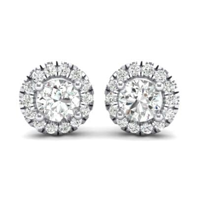 Disc Round Halo Crystals Earrings