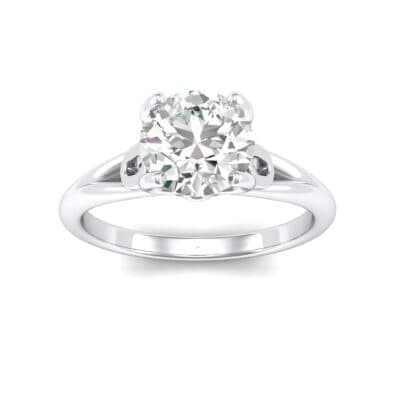 Curl Split Shank Solitaire Crystals Engagement Ring (0.64 Carat)