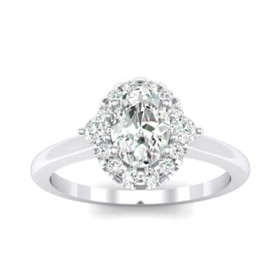Plain Shank Oval Halo Crystals Engagement Ring (1.03 Carat)