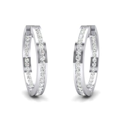 Medium Pave Crystals Hoop Earrings