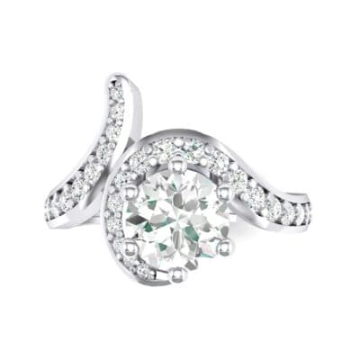 Asymmetrical Crystal Bypass Engagement Ring (1.09 CTW) Top Flat View