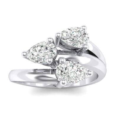 Open Band Pear-Shape  Crystals Ring