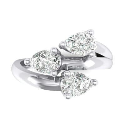 Open Band Pear-Shape Crystal Ring (0 CTW) Top Flat View