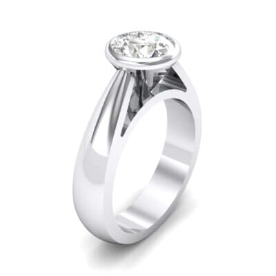 Tapered Bezel-Set Solitaire Crystals Engagement Ring (0.95 Carat)