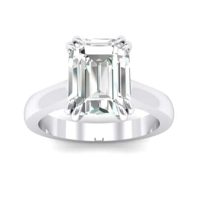 Double Claw Prong Emerald-Cut Crystals Engagement Ring (0.66 Carat)