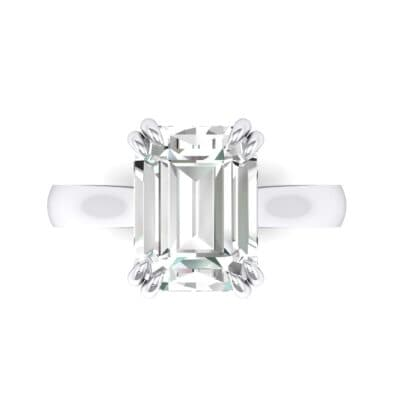 Double Claw Prong Emerald-Cut Crystal Engagement Ring (0.66 CTW) Top Flat View