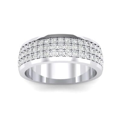 Triple Line Half Eternity Crystals Wedding Ring