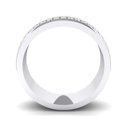 Triple Line Half Eternity Crystal Wedding Ring (0 CTW) Side View