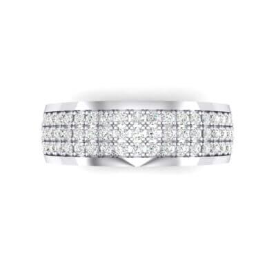 Triple Line Half Eternity Crystal Wedding Ring (0 CTW) Top Flat View