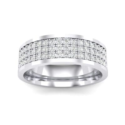 Small Triple Line Crystals Wedding Ring