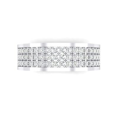 Small Triple Line Crystal Wedding Ring (0 CTW) Top Flat View