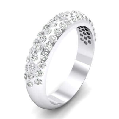 Domed Three-Row Pave Crystals Ring (1.1 Carat)