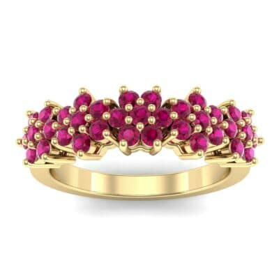 Five Flower Ruby Ring (0.7 Carat)