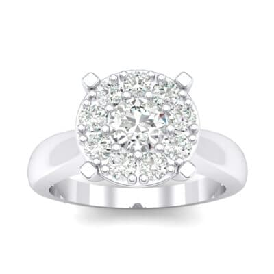 Tapered Plain Shank Halo Crystals Engagement Ring (0.92 Carat)