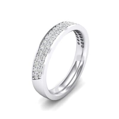 Flat Two-Row Pave Crystals Ring (0.84 Carat)