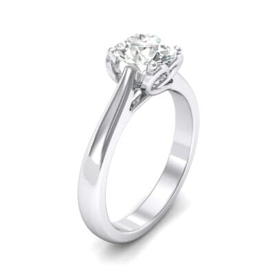Heart Accent Cathedral Solitaire Crystals Engagement Ring (0.46 Carat)