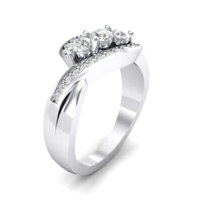 Three-Stone Pave Crystals Bypass Engagement Ring (0.83 Carat)