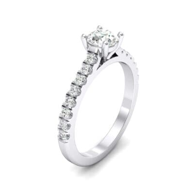 Petite Cathedral Pave Crystal Engagement Ring (0.92 CTW) Perspective View