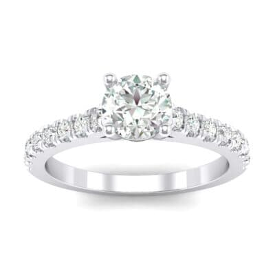 Petite Cathedral Pave Crystals Engagement Ring (0.92 Carat)