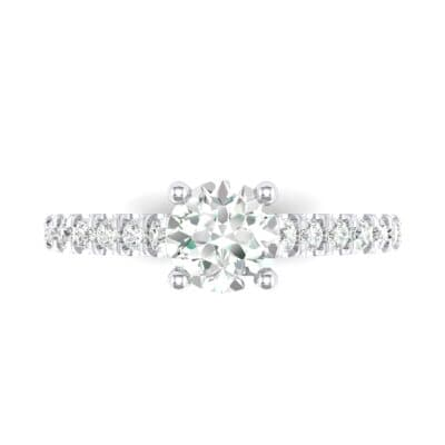 Petite Cathedral Pave Crystal Engagement Ring (0.92 CTW) Top Flat View