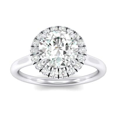 Plain Shank Round Halo Crystals Engagement Ring (0.66 Carat)