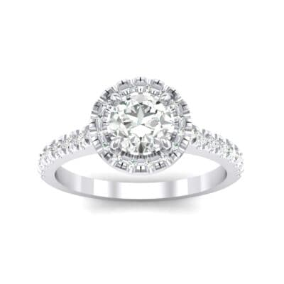 Round Halo Pave Crystals Engagement Ring (1.12 Carat)