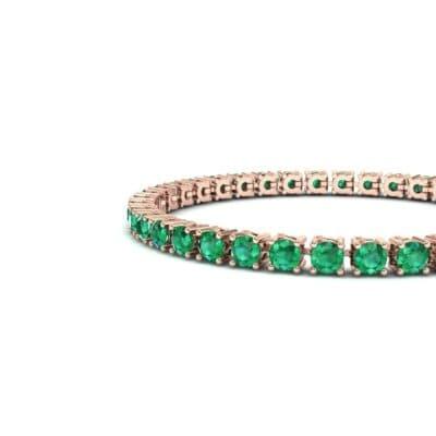 Round Brilliant Emerald Tennis Bracelet (11.4 CTW) Top Dynamic View