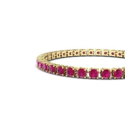 Round Brilliant Ruby Tennis Bracelet (11.4 CTW) Top Dynamic View