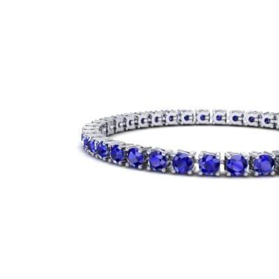 Round Brilliant Blue Sapphire Tennis Bracelet (11.4 CTW) Top Dynamic View