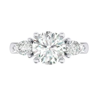 Pear Three-Stone Crystal Engagement Ring (1.05 CTW) Top Flat View