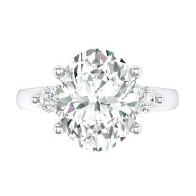 Shoulder Accent Oval Crystal Ring (2.54 CTW) Top Flat View