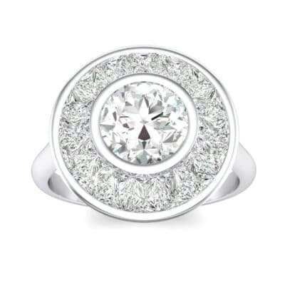 Deco Bezel-Set Halo  Crystals Engagement Ring (0.87 Carat)