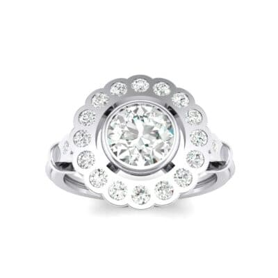 Aster Pierced Halo Bezel-Set Crystals Engagement Ring (0.64 Carat)