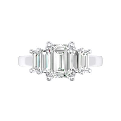 Stepped Five-Stone Crystal Engagement Ring (1 CTW) Top Flat View