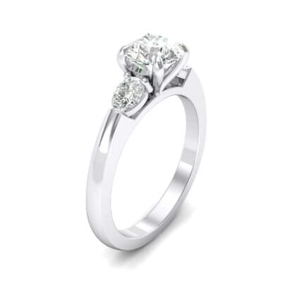 Claw Prong Pear Three-Stone Crystals Engagement Ring (0.82 Carat)