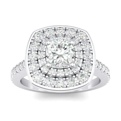 Gala Double Halo Cushion-Cut Crystals Engagement Ring (0.36 Carat)