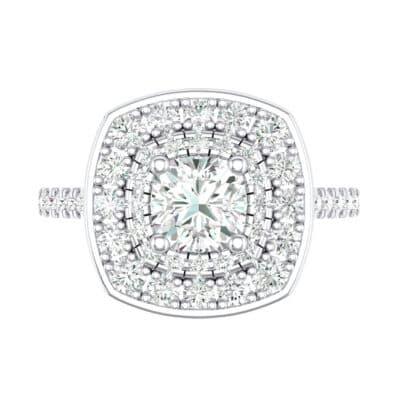 Gala Double Halo Cushion-Cut Diamond Engagement Ring (0.92 CTW) Top Flat View