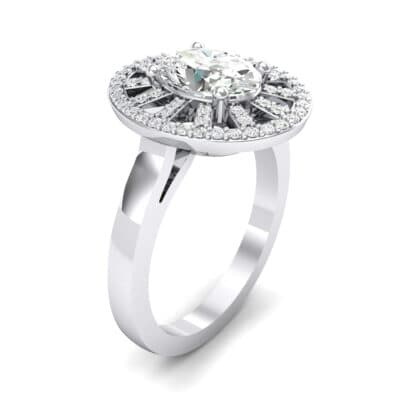 Oval Pierced Halo Crystal Ring (1.21 CTW)