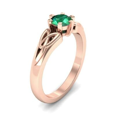 Celtic Six-Prong Emerald Engagement Ring (0.64 Carat)