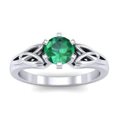 Celtic Six-Prong Emerald Engagement Ring (0.64 Carat)