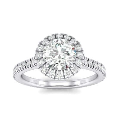 Round Halo Full Pave Crystals Engagement Ring (0.64 Carat)
