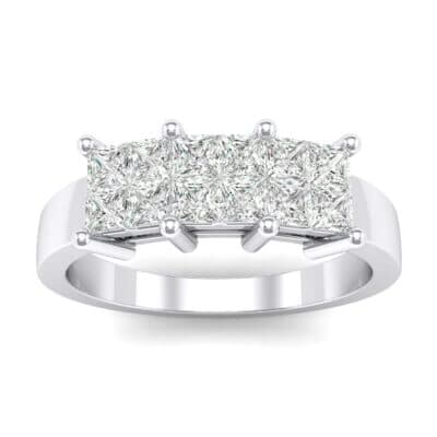 Invisible-Set Dozen Crystals Ring (0.96 Carat)
