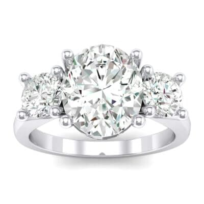 Oval and Round Three-Stone Trellis Crystals Ring (1.3 Carat)