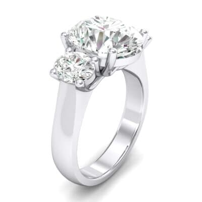 Oval Three-Stone Trellis Crystal Ring (3.85 CTW)