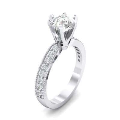Six-Prong Milgrain Pave Crystals Engagement Ring (0.66 Carat)