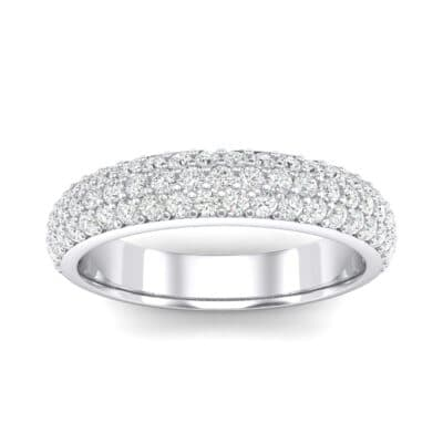 Domed Three-Row Pave Crystals Ring