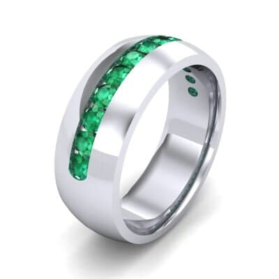 Domed Channel-Set Emerald Wedding Ring (1.17 Carat)